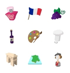 Stay in france icons set cartoon style vector