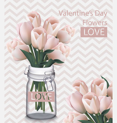 Sweet valentine day card with tulip flowers vector