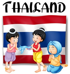 Thai festivals and flag vector image vector image
