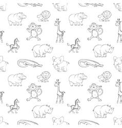 Wild animals seamless pattern cartoon style vector