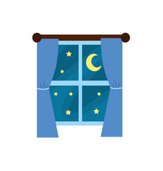 Window with curtain the night and moon with star vector