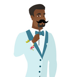 Young african-american groom with a fake mustache vector