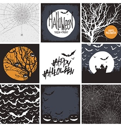 Set of design elements for halloween seamless bac vector
