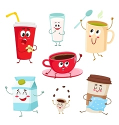Set of funny milk coffee tea cup glass mug vector