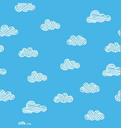 Scribble clouds on blue background seamless vector