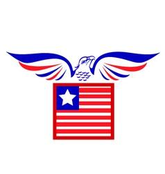 Bald Eagle and flag logo vector image
