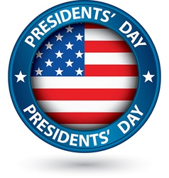 Presidents day blue label with usa flag vector