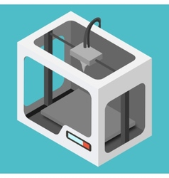 Isometric 3d printer on a blue background vector