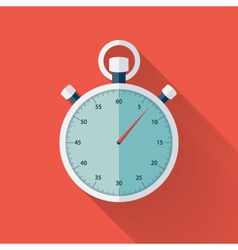Flat stopwatch icon over red vector image