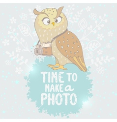 Owl and camera vector