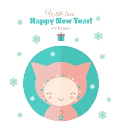 Greeting card with fun child for new year in flat vector