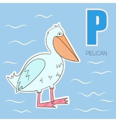 Alphabet letter p pelican children vector