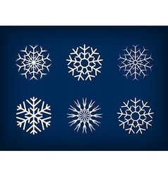 Decorative snowflakes winter christmas set vector