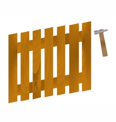 A hammer to drive nails into the fence vector