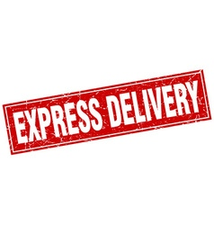 Express delivery red square grunge stamp on white vector