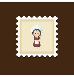 American pilgrim children stamp thanksgiving day vector