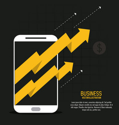 Arrow growth smartphone business icon vector