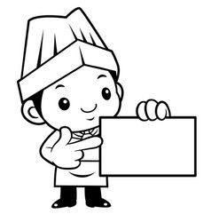 Black and white funny cook mascot to give us a vector