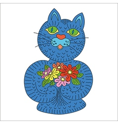 Blue cat with flowers vector