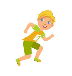 boy running in yellow shirt with number one a vector image