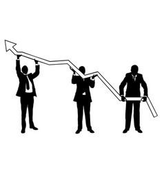 businessmen lifting graph vector image