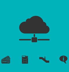 cloud computingserver icon flat vector image