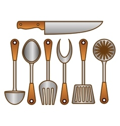 Color kitchen tools icon image vector