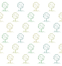 Deciduous tree on a meadow seamless vector