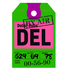 Delhi airport luggage tag vector
