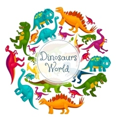 Dinosaurs world cartoon poster vector