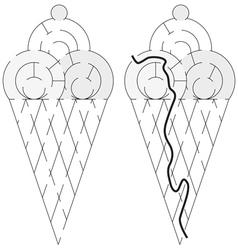 Easy ice cream maze vector image