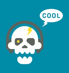 Flat design skull with headphones vector image