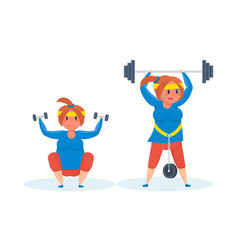 Full girl engaged in sports exercises vector