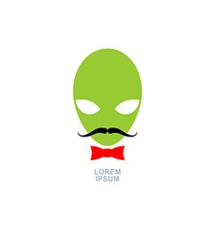 Green alien with mustache and bow-tie logo vector image vector image