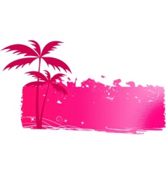 grungy background with palm trees vector image