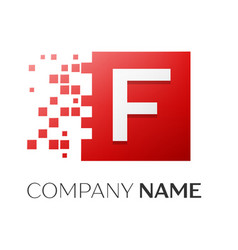 letter f logo symbol in the colorful square with vector image