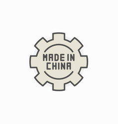 made in china gear colored icon vector image vector image