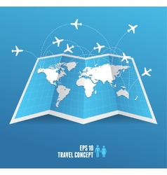 Map icon and airplane vector