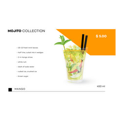 mojito collection menu template with vector image vector image