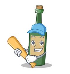 Playing baseball wine bottle character cartoon vector