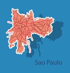Sao paulo brazil sticker map isolated on vector
