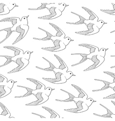 Seamless pattern with swallow bird flying hand vector image
