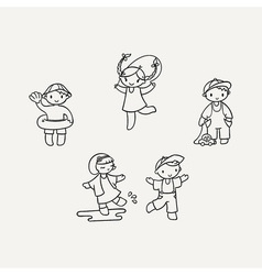 Set of cute doodle children vector