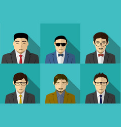 set of modern korean people in portait vector image vector image