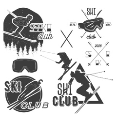 set of mountain skiing labels in vintage vector image vector image