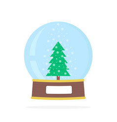 Simple snow globe with xmas tree vector