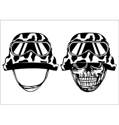 Skull in helmet and helmet vector