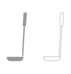 Soup ladle the grey set icon vector