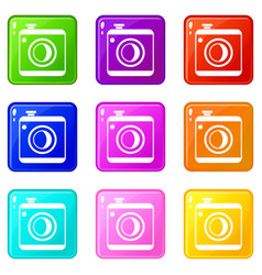 Vintage photo camera set 9 vector
