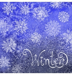 Winter background with snowflakes Painting vector image vector image